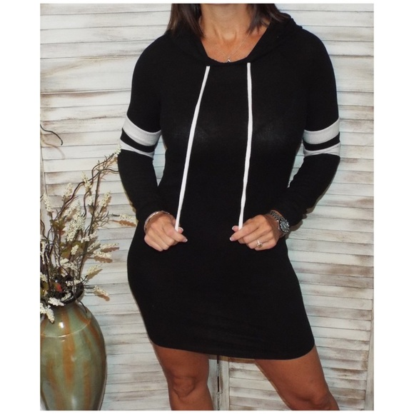 Dresses & Skirts - Sporty Contrast Lightweight Sweater Hoodie 2219